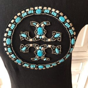 Tory Burch Tops - Tory Burch T-shirt with Logo in Turquoise Stones.